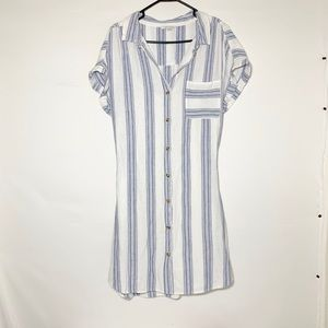NWOT XL AEO linen striped shirt dress, blue&white